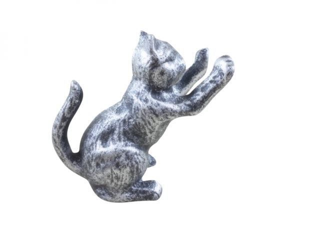 Rustic Silver Cast Iron Cat Door Stopper 5